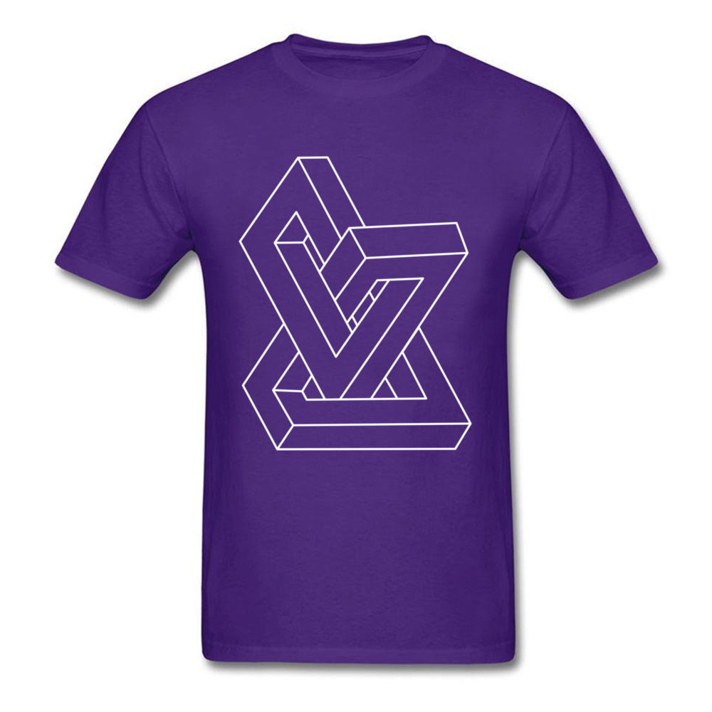 Cheap Men T-Shirt Crew Neck Short Sleeve All Cotton Design Tees Personalized Clothing Shirt Free Shipping Optical illusion   Impossible figure purple