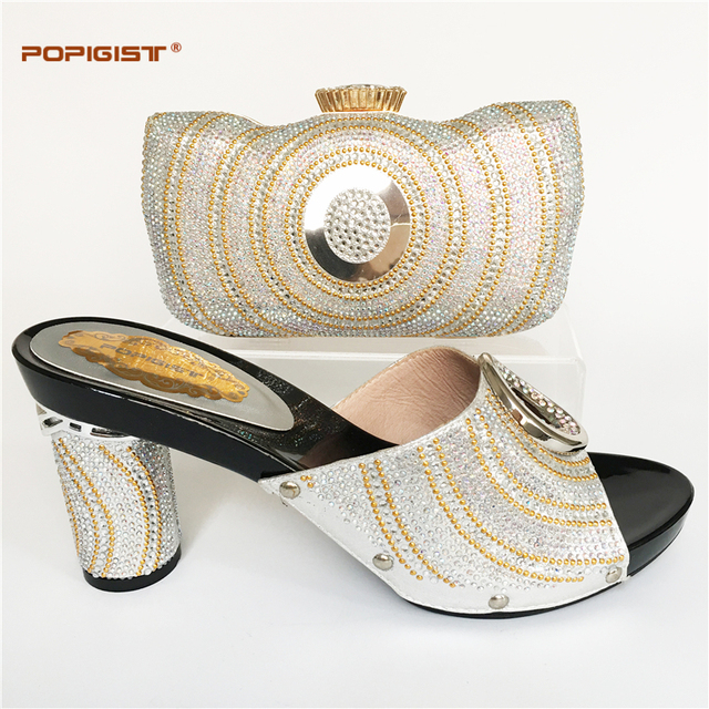 a1e21795524f Silver new Italian Shoe With Matching Fashion Women Shoes And Bags Design  With Rhinestones Italian Shoes With Matching Bags Set