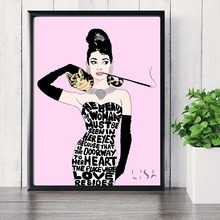 Audrey Hepburn Pink Artwork Canvas Art Print Painting Poster Wall Picture For Living Room Home Decorative Bedroom Decor No Frame