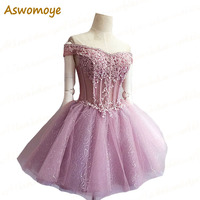 Short Evening Dress 2016 New  Sexy Shining Party Prom Dresses Boat Neck robe de soiree vestido de festa Custom Made Alimida Evening Dresses