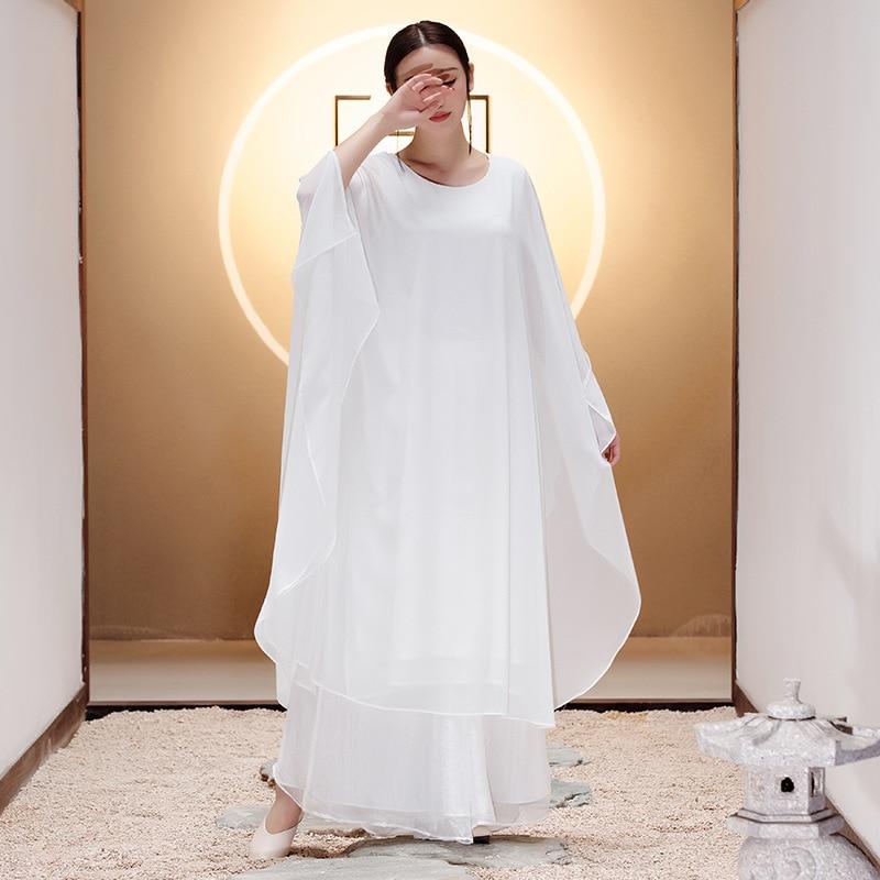 Nouveau Blanc De Costume Été Longues Zen Style Manches Robe À Femmes Danse Chinois W9ID2YHE
