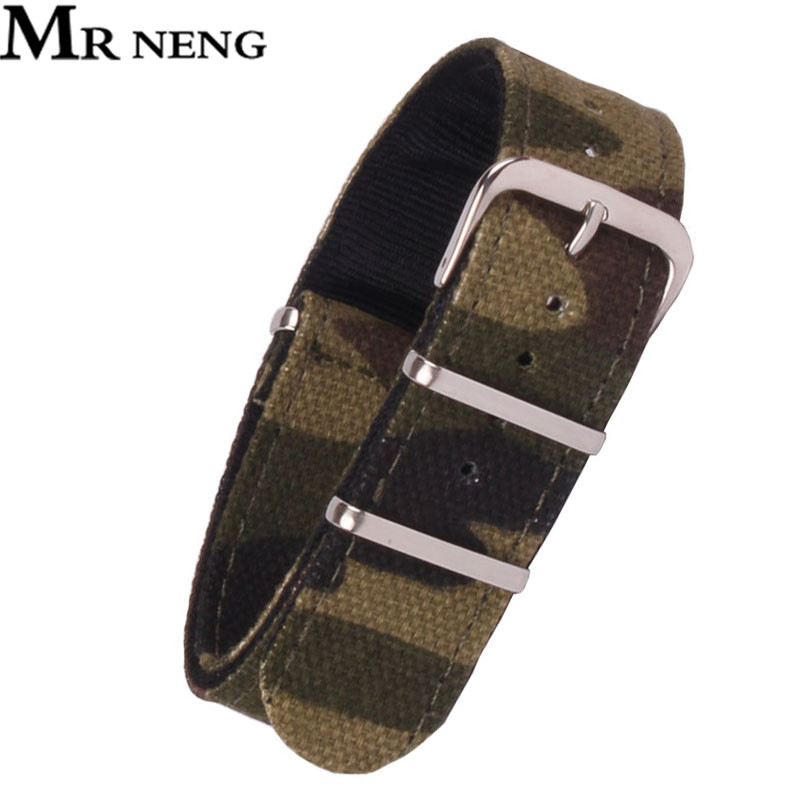 MR NENG Army Military Nato Nylon Watch 18 20 22 Mm Camouflage Fabric Woven Watchbands Strap Band Buckle Belt 22mm Accessories