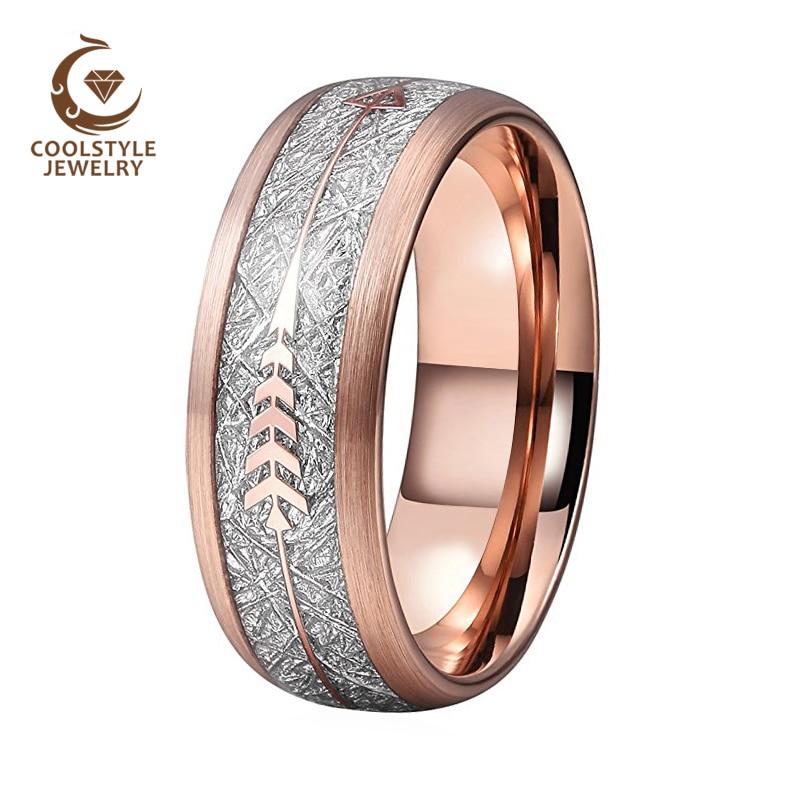 3da7d8b3d7c7 Anillo de boda de oro rosa para hombres y mujeres anillo de tungsteno  acabado cepillado con meteorito de plata imitado e incrustación de flecha de  oro rosa