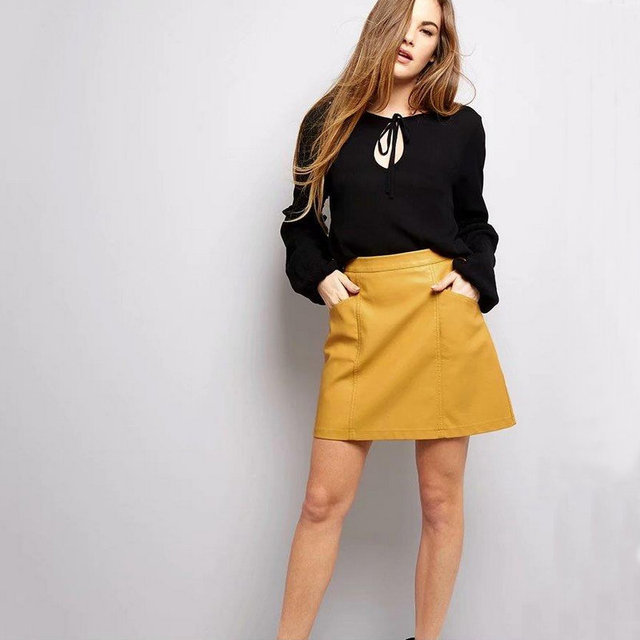 2018 New Women Office A-line Faux Leather Mini Skirts Lady High Waist PU  Micro 472e7ab2c