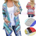 Womens Long Sleeve Knitted Loose Boho Sweater Outwear Jacket Coat Tops
