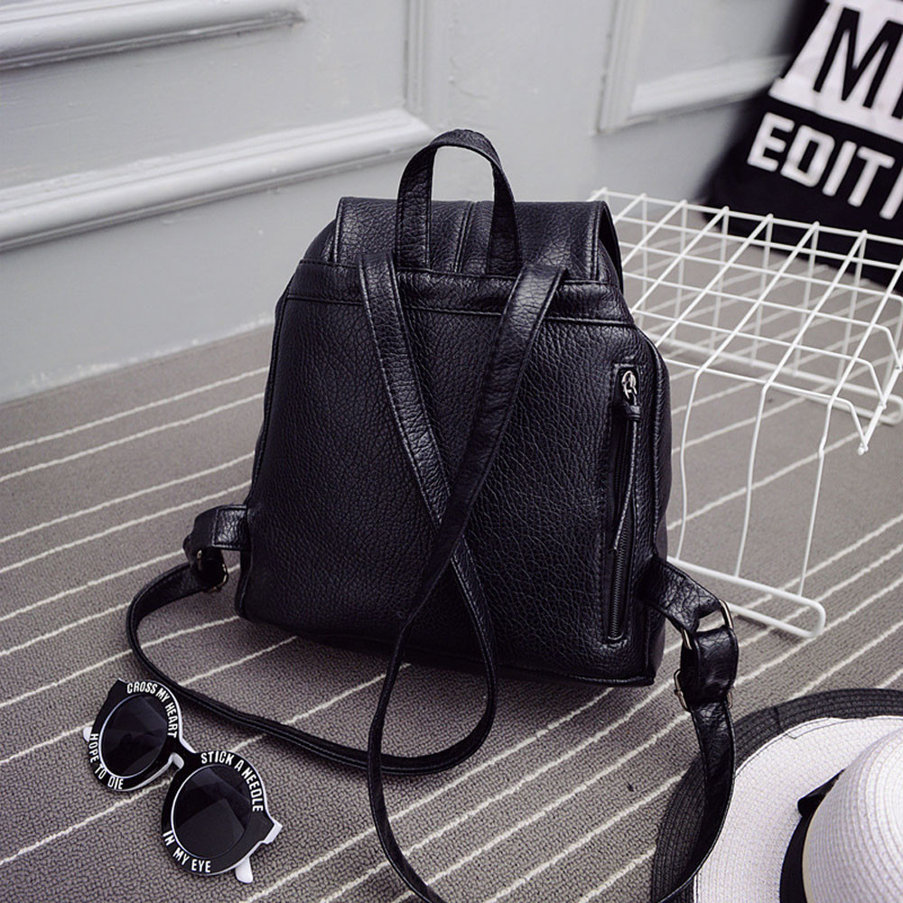New Leather Backpack Women Backpacks Solid Schoolbag For Teenage Girl Waterproof Travel Bags For Women 2019 Deri Sirt Cantasi #3