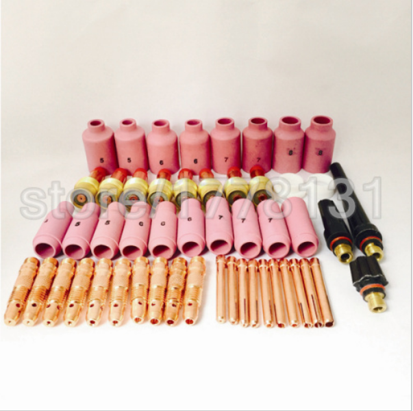 Free shipping 51PCS TIG KIT & TIG Welding Torch Consumables Accessories Alumina Gas Lens, TIG Back Cap ,Collet Bodies, FIT WP 17 2015 sale gas burner wp 17v sr 17v tig welding torch complete 20feet 6meter soldering iron gas valve control air cooled 150amp