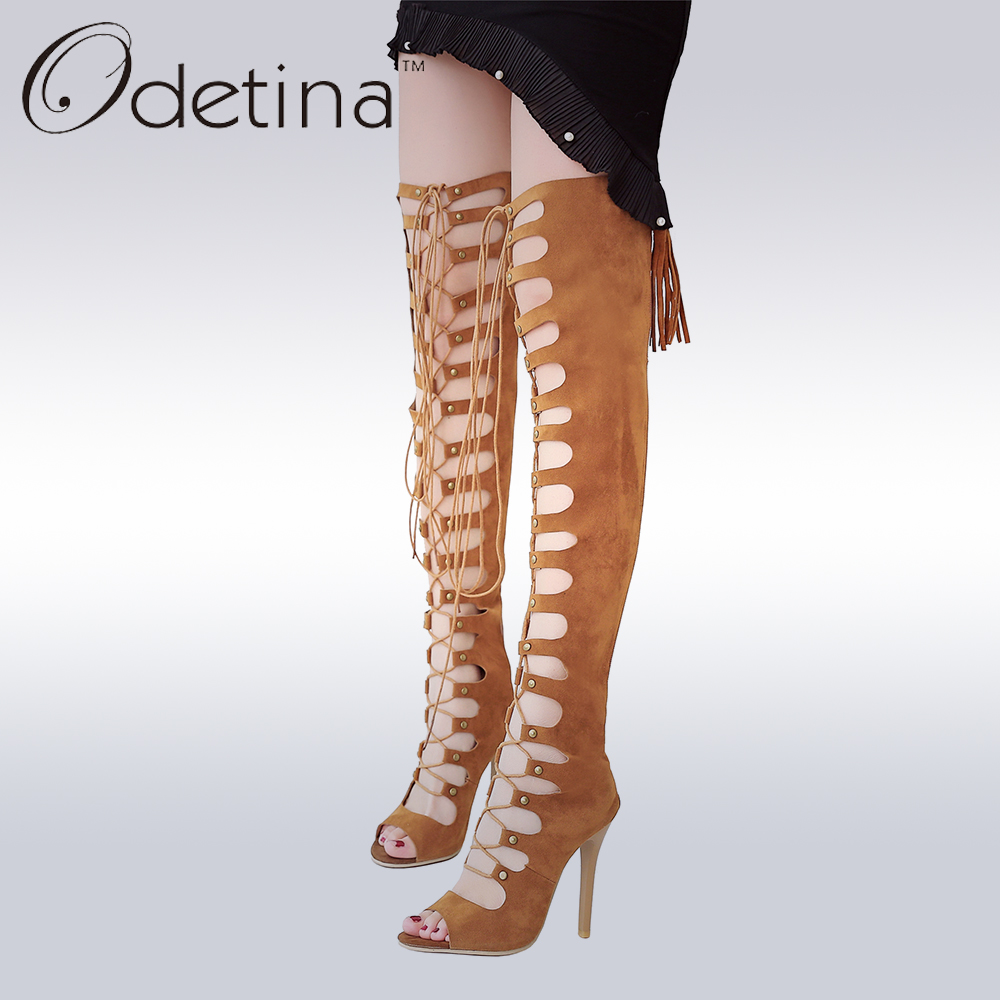 Odetina Sexy Peep Toe Lace Up Gladiator Sandals Super High Heel Over The Knee Summer Boots Plus Size Ladies Stiletto Heels Shoes summer sandals sexy pumps women summer long boots over the knee gladiator sandal boots fish mouth high heel pumps shoes sandals