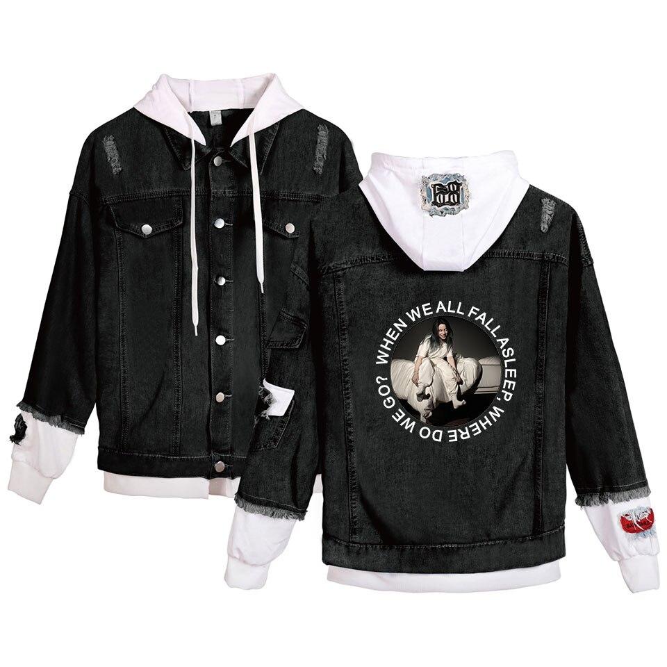 Billie Eilish 2019 New Cowboy Women/Men Autumn Winter Fashion Stitching Hooded Broken Hole Stitching Denim Jacket Plus Size