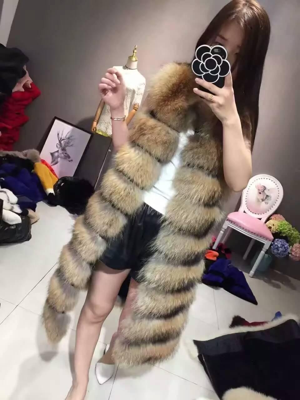 Natural Fur Coat Fur Vest Jacket Long Fox Raccoon Fur Vest Sleeveless Jacket Thin Woman