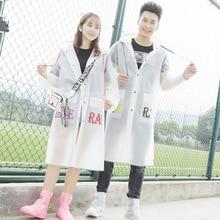 Transparent Raincoat Women Hooded Pockets Clear Plastic Outdoors Waterproof Girls/man