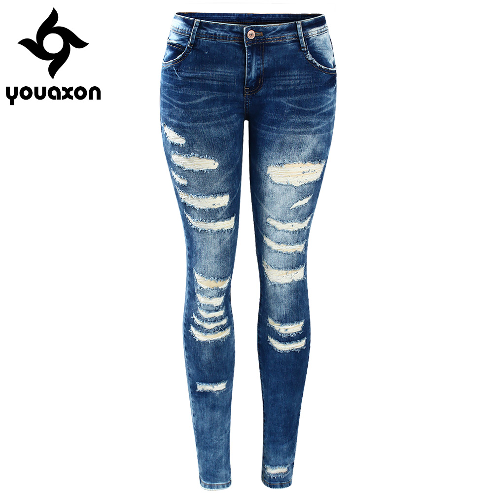 2045 youaxon Для женщин знаменитости Стиль моды синий низкий Rise Skinny Distressed из эластичного стираного денима джинсы для Для женщин рваные Брюки для девочек