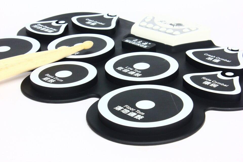 Mini kit de batterie usb en silicone tampon de pédale de grosse caisse électronique machine à jouets pour enfants avec pilons instrument de musique à percussion - 4
