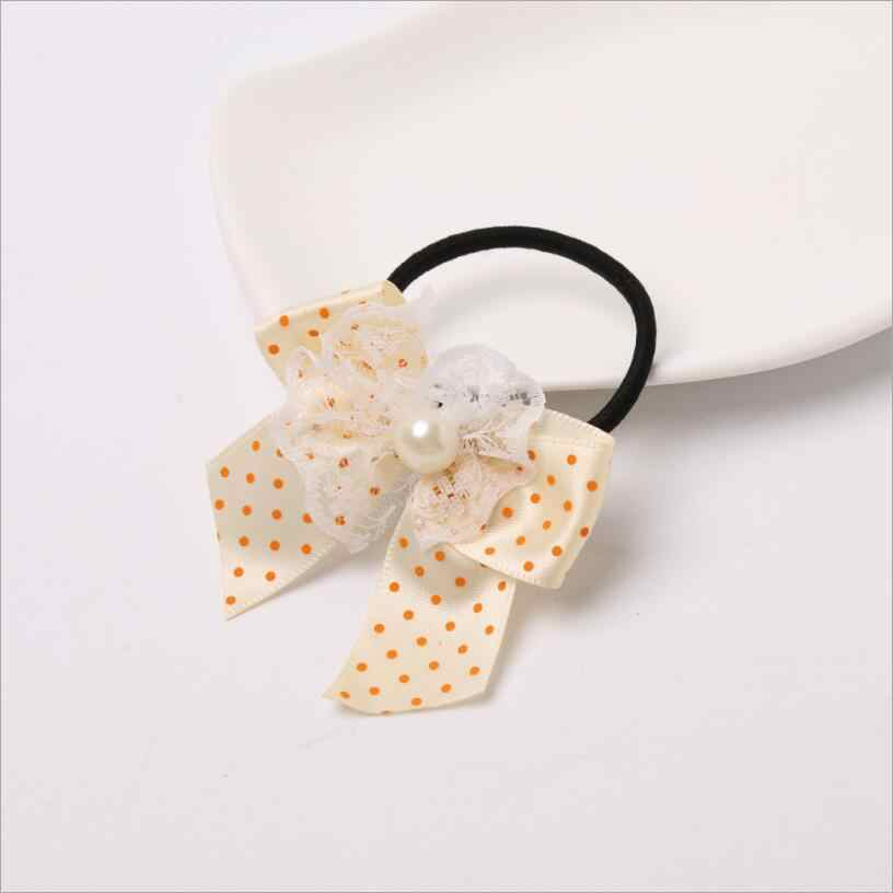 Children Dot Lace Print Bow Hairpins Rubber Bands Girls Kids Pearl Hair Accessories Gum For Hair