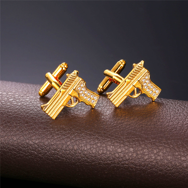 Gun Weapon Golden Silver Cufflink For men