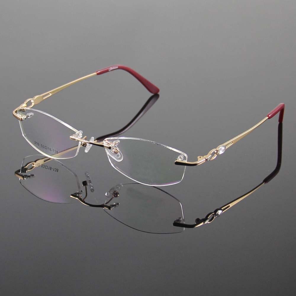 Sin montura de gafas marco diseñador gafas mujer gafas óptico marco ...