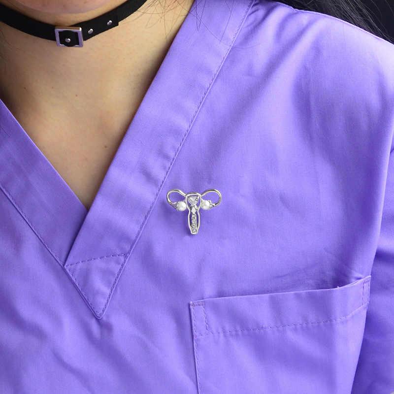 여성 자궁 진주 크리스탈 금속 브로치 케어 여성 건강 배지 보석 핀 의사 간호사 의료 학생 보석 선물