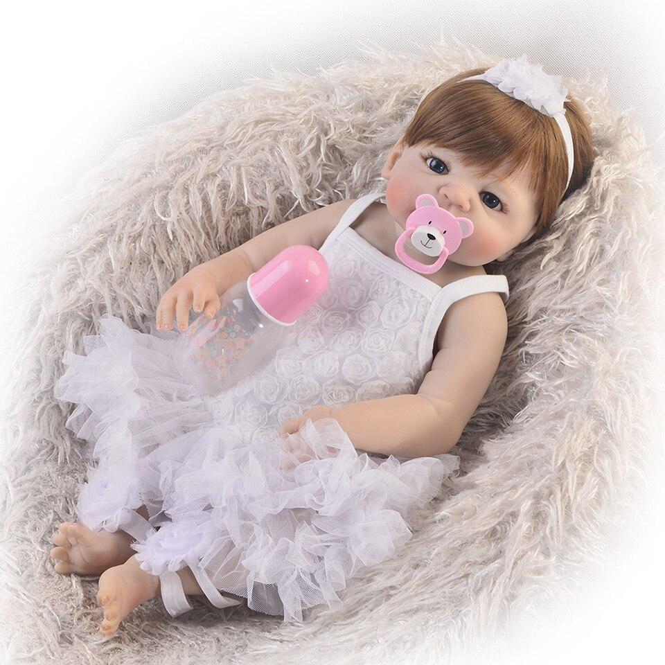 """Volle Vinyl Körper Reborn Baby Puppe 23 """"57 cm Lebensechte Baby Reborn Realistische Prinzessin Mädchen Babys Puppen Für Kinder weihnachten Geschenk Bad Spielzeug-in Puppen aus Spielzeug und Hobbys bei  Gruppe 1"""