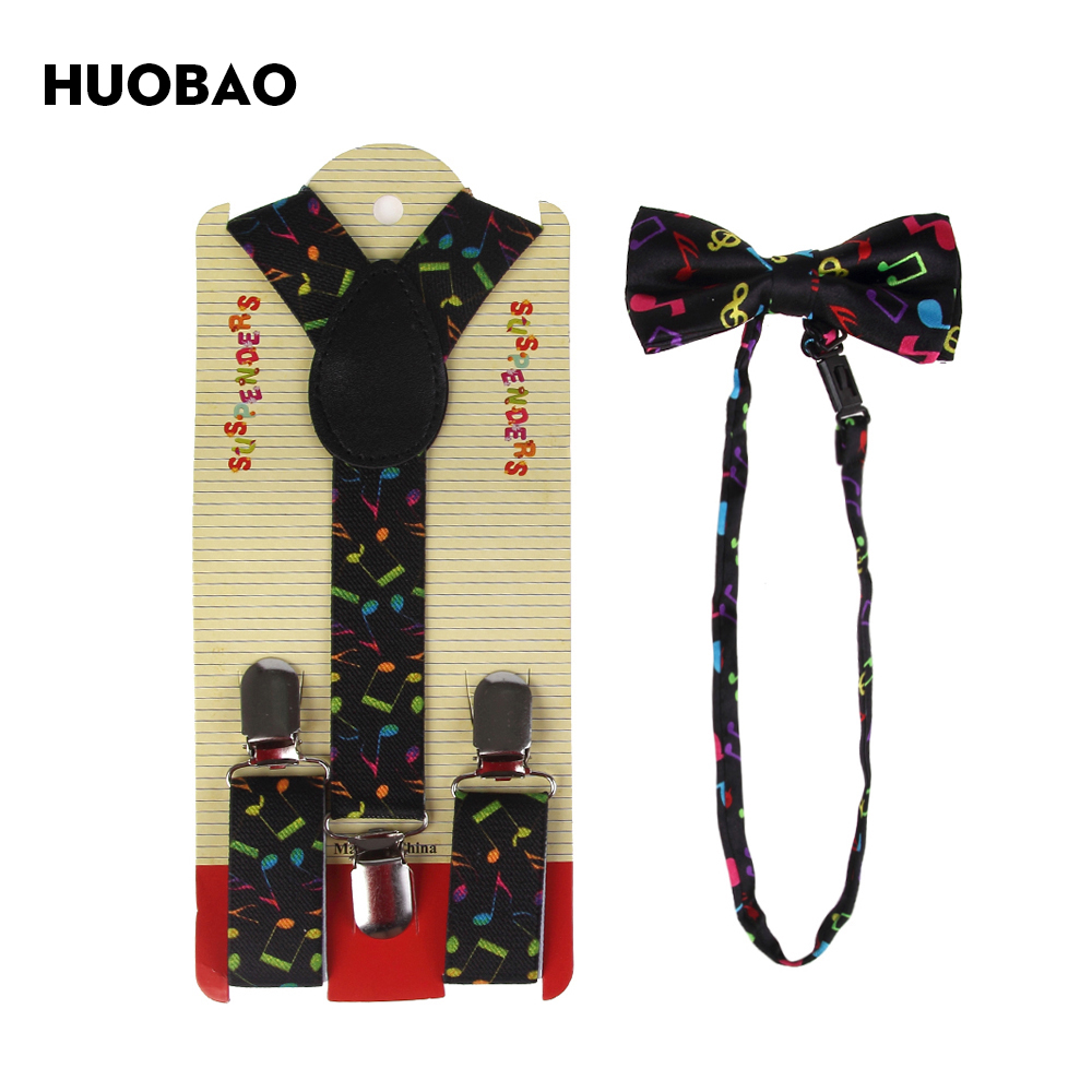 HUOBAO 2017 New Fashion Multicolor Music Notes Bow Tie And Matching Suspenders Sets For Kids Children