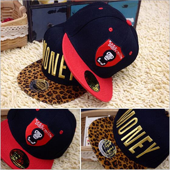 Street Fashion Leopard Print Letter Kids Hip Hop Baseball Cap Boy Girls Flag Snapback Hat  Adjustable Baseball Cap For Children newly design i came to break hearts embroidery letter boy hiphop hat adjustable baseball cap 160513