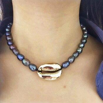 5bb018d021fb Boho Puka Natural cowrie Shell collar mujeres declaración perla barroco bijoux  gargantilla collar Collier de coquillage joyería 2019