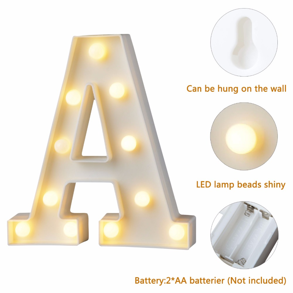 1pc Fun White Plastic Letter LED Night Light Marquee Sign Alphabet Lights Lamp Home Club Outdoor Indoor Wall Decoration T0.2