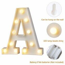 1pc divertido branco letra de plástico led night light marquise sinal alfabeto luzes da lâmpada casa clube ao ar livre decoração de parede interior t0.2