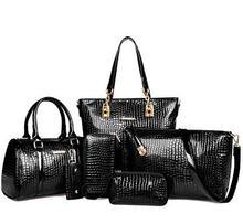 6pcs/set Women Composite Bag Fashion Design Set Aligator Handbag Shoulder Purse 6Color Bolsa Feminina
