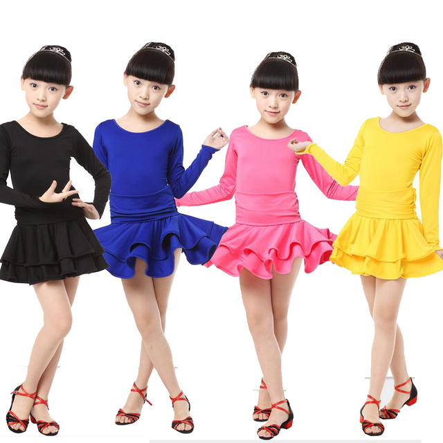 Girls Long Sleeves Latin Dance Dress Childrens Fancy Dress Kids Stage wear  Ballroom Dancing Salsa Rumba Cha Cha Costume dress 4720251079da