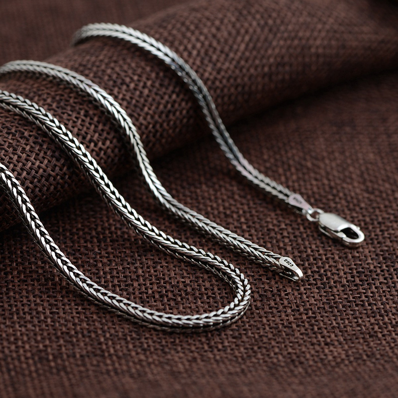 FNJ 2mm Fox tail Chain 925 Silver Necklaces for Women Men Long Sweater Thai S925 Solid