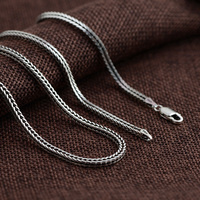 FNJ 2mm Fox tail Chain 925 Silver Necklaces for Women Men Long Sweater Thai S925 Solid Silver necklace Jewelry Making