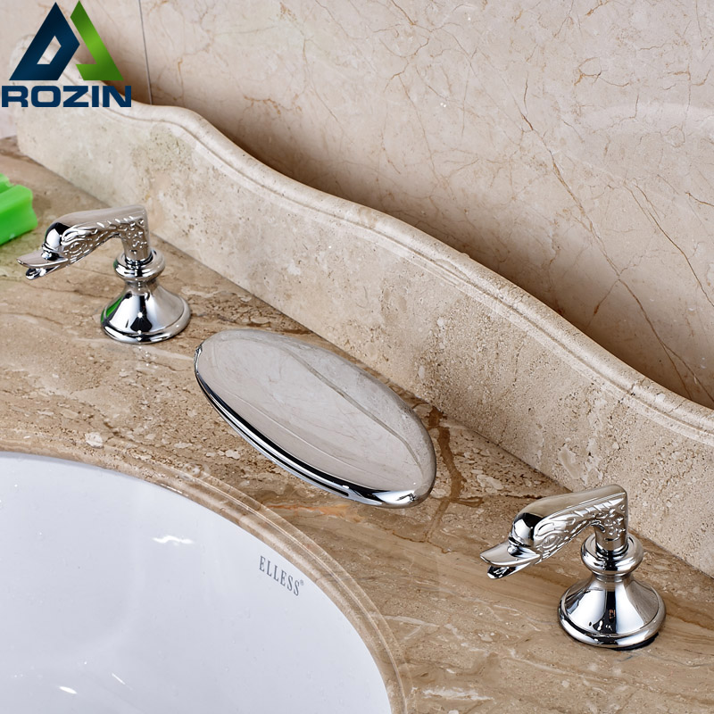 Best Quality Double Handle Basin Mixers Deck Mount Brass Chrome Bathroom Faucet Tap Waterfall Spout best quality double sortie12v 24v 150w