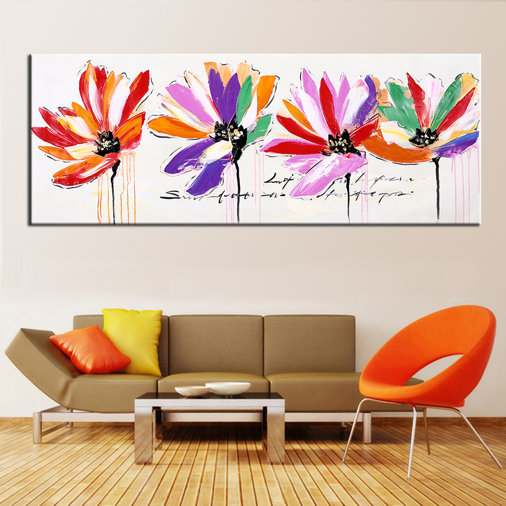 Oil Painting Hand Painted Colorful Flowers Modern Wall Decorative Canvas Art Picture for living room Home Decor Wall ArtOil Painting Hand Painted Colorful Flowers Modern Wall Decorative Canvas Art Picture for living room Home Decor Wall Art