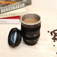 סימולציה חידוש נירוסטה ספל עדשת המצלמה קפה Thermo ספל נסיעות מבודד תה גביע ספל 400 ml מתנה יצירתית