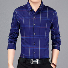 2017 New Autumn Brand Men's Plaid Shirt Male Warm Long Sleeve Shirt Plus Size Youth Office Business Casual Shirt Men