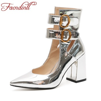 FACNDINLL basic pumps 2019 new fashion autumn women shoes sexy high heel silver shoes woman dress party wedding gladiator shoes