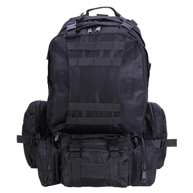 Outdoor Military Molle Army Tactical Backpack Rucksack Sports Camping  Hiking Bag Black Pack 123f9cd04fda5