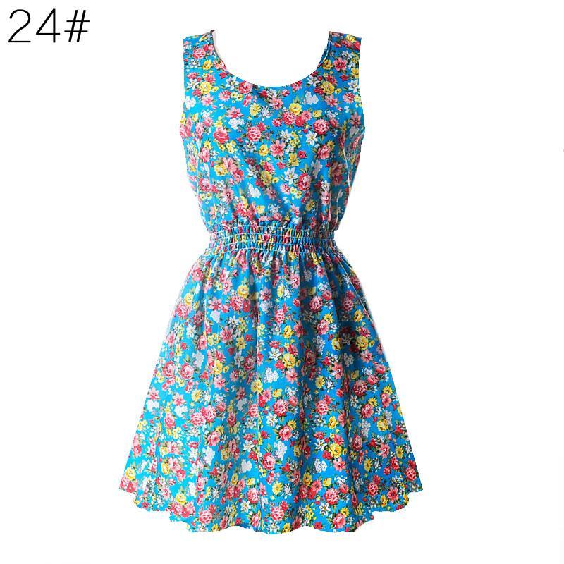 2017 Women Sexy Chiffon Beach Dress Sleeveless Summer Sundress Floral Tank Mini Dresses Plus Size 4 Colors
