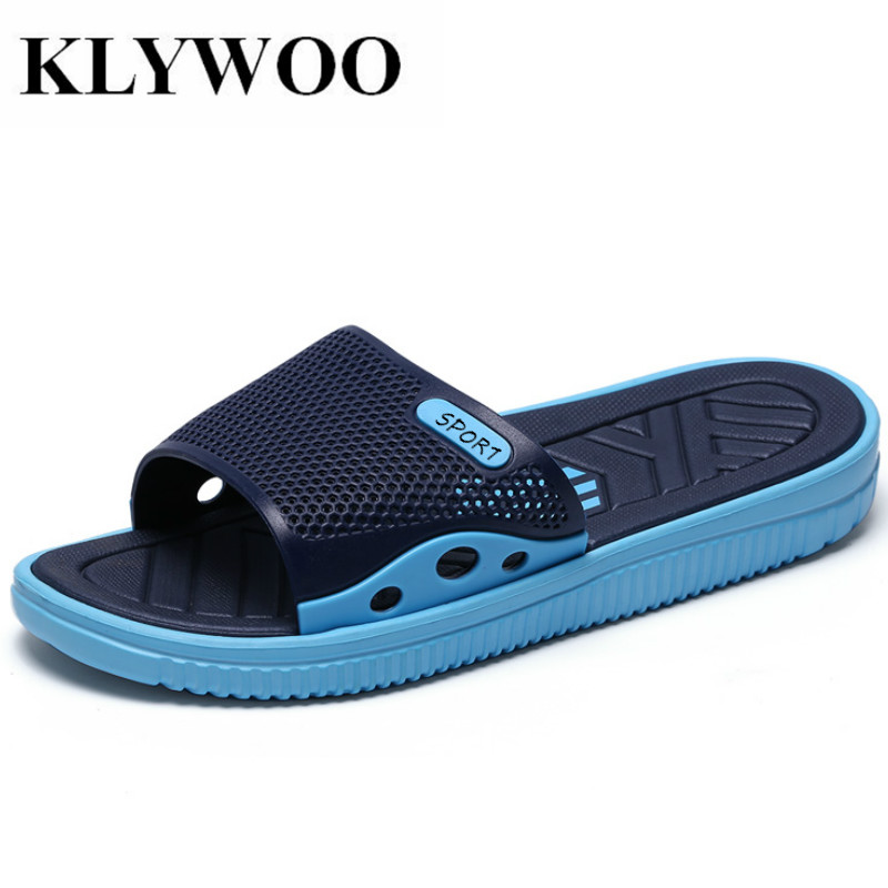 KLYWOO Indoor Shoes Men Slippers Size 45 Summer Sandals Men Flip Flops Beach Sandals Slides Slippers Men Shoes Sandalias Hombre dreamshining female summer fruit sandals party sandals beach slippers sandalias watermelon orange pitaya kiwi