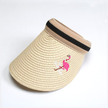 97ac79001bfd6 1pc Women Fashion Straw Sun Hats Sweet Vintage Embroidery Flamingo  Adjustable Outdoor Sun-Proof Beach Wide Brim Caps Summer New