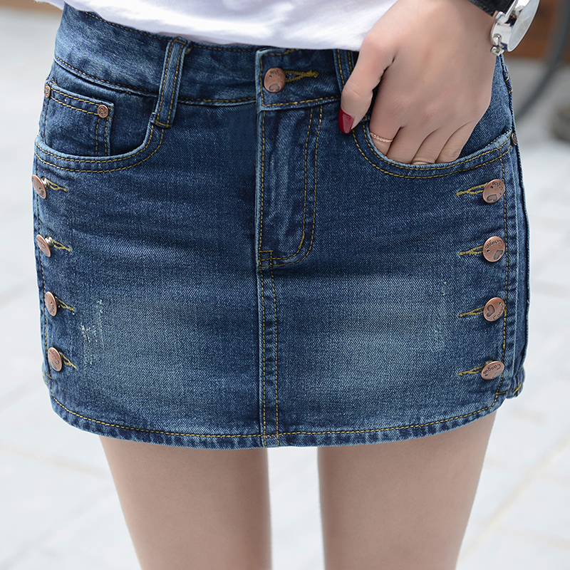 2019 Summer New Fashion Women Cowboy Shorts / Woman's Fake Two Pieces Mid Waist Denim Short Skirt  26-40 Y113