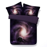 Hot 3D Printed Comforter Bedding Sets Twin Full Queen Super Cal King Size Bed Covers Bedclothes Woven Universe Black Hole Purple