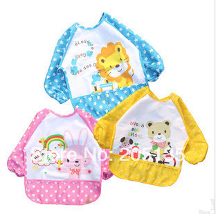 2016 new baby feeding smock bibs infant apron waterproof smock overclothes children kids dustcoat wholesale 3pcs/lot