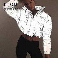Fashion flash reflective women padded jacket short tops warm autumn winter solid zipper oversize loose outwear coats casual