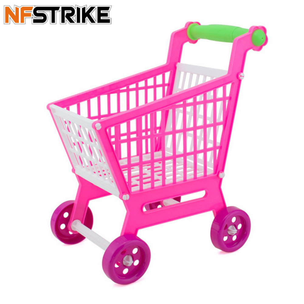 Mini Child Shopping Cart Toy Supermarket Handcart Shopping Trolley Storage Educational Play Carts Basket Toy For Kids Boys -Rosy