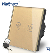 цена на 2 Gang 2 Way Remote Eu European Switch 110V-240V Wallpad Gold Glass LED 2 Gang 2 Way Touch Remote Control Switch Power Supply