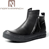 NORTHMARCH Genuine Leather Black Shoes Autumn Winter Mens Chelsea Boots Men Shoes European Style Zipper Martin
