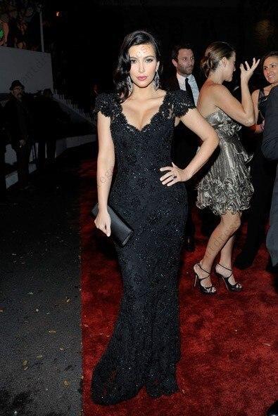 Nach Maß V ausschnitt Spitze Meerjungfrau Schwarz Abendkleid Kim ...