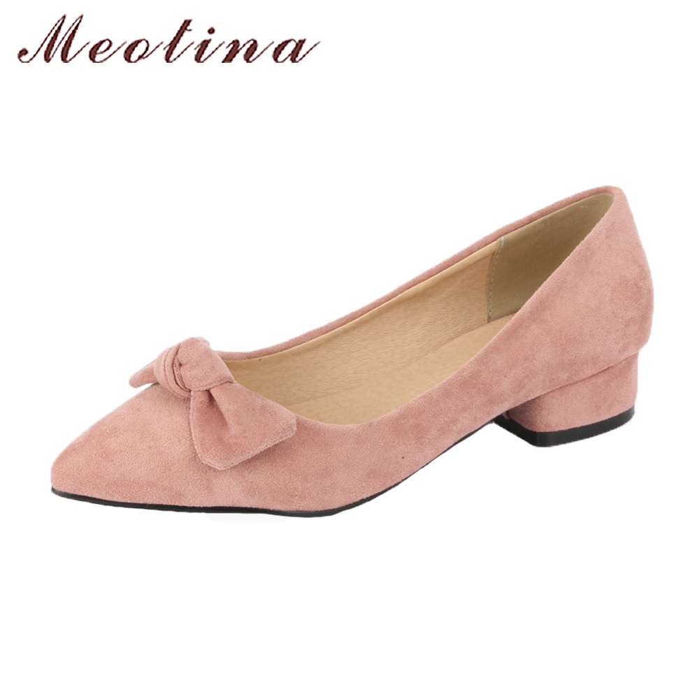 Meotina 2018 Shoes Women Ballet Flats Pointed Toe Slip On Casual Shoes Spring Bow Flats Shoes Plus Size 9 42 43 Pink 2017 womens spring shoes casual flock pointed toe narrow band string bead ballet flats flat shoes cover heel women flats shoes