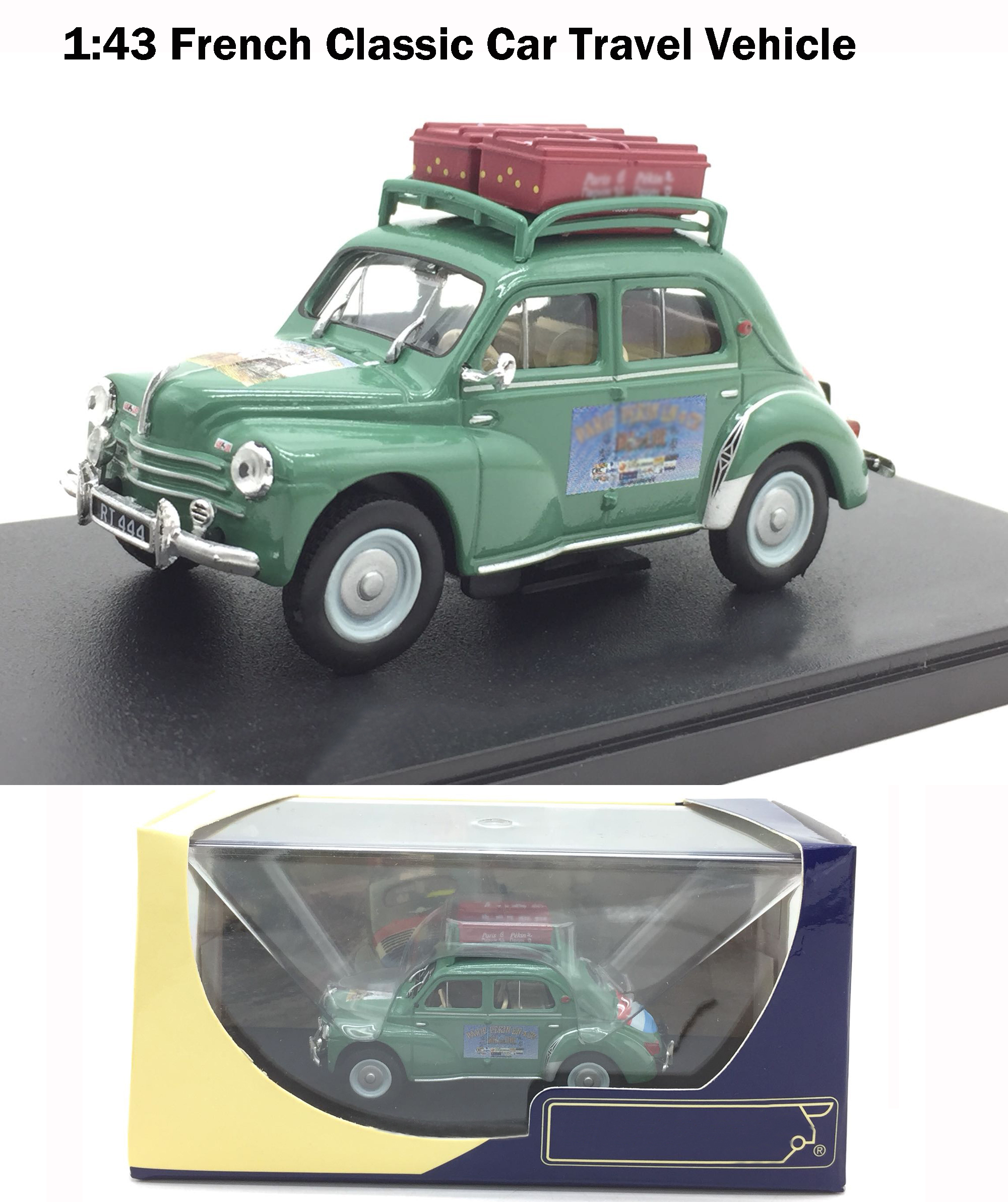 Rare  Special Offer  1:43  French 4-CV Classic Car Travel Vehicle  Alloy Collection Model